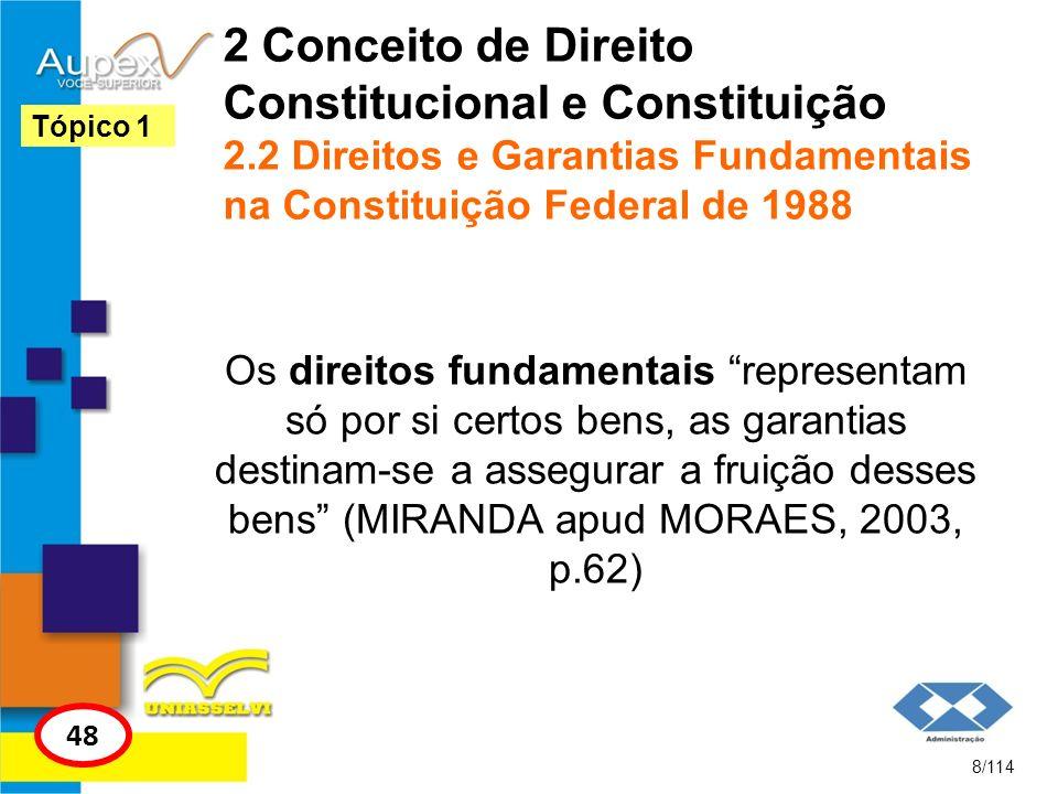 2 Conceito de Direito Constitucional e Constituição 2.2 Direitos e Garantias Fundamentais na Constituição Federal de 1988 Os direitos fundamentais rep