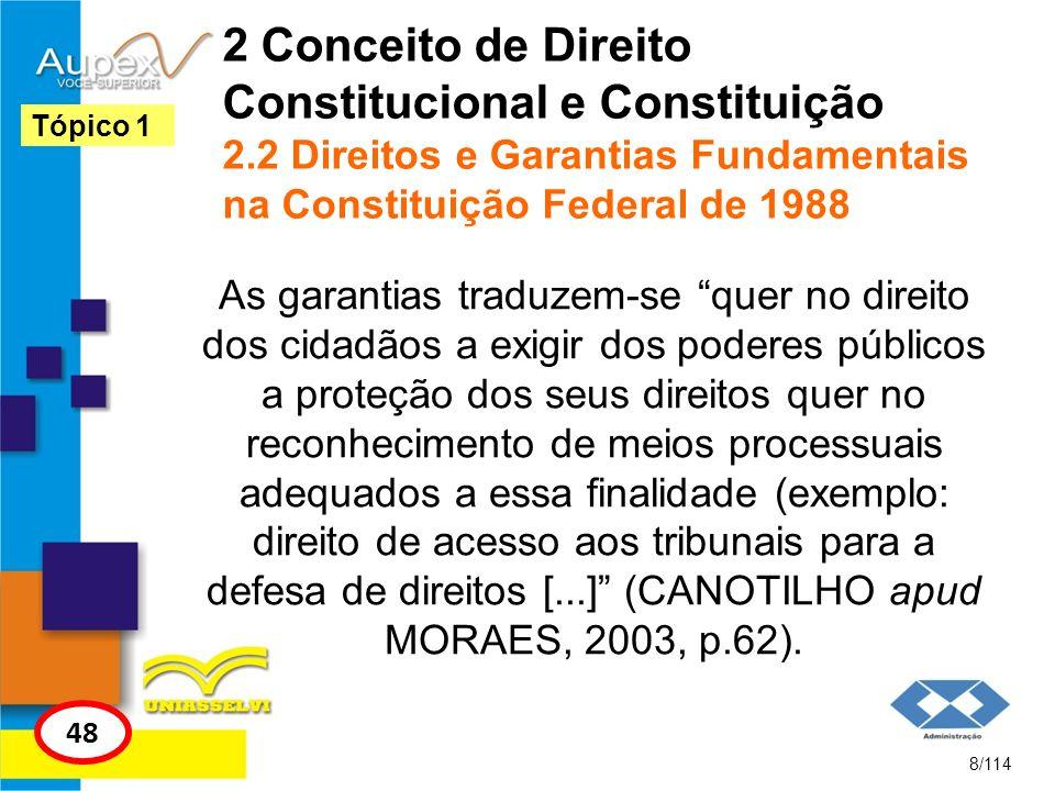 2 Conceito de Direito Constitucional e Constituição 2.2 Direitos e Garantias Fundamentais na Constituição Federal de 1988 As garantias traduzem-se que