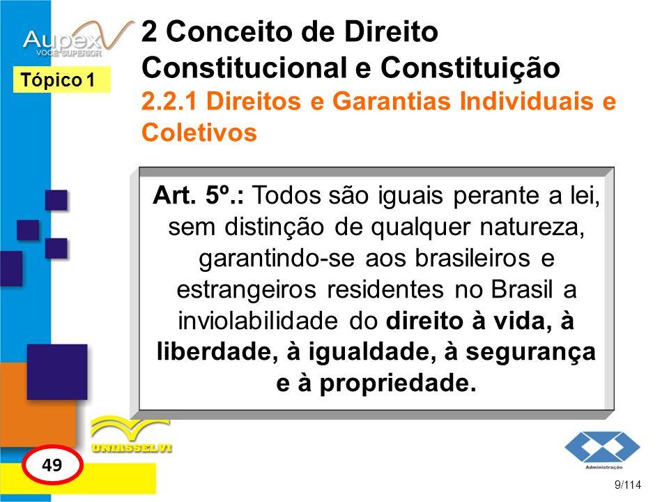 2 Conceito de Direito Constitucional e Constituição 2.2.1 Direitos e Garantias Individuais e Coletivos Art. 5º.: Todos são iguais perante a lei, sem d