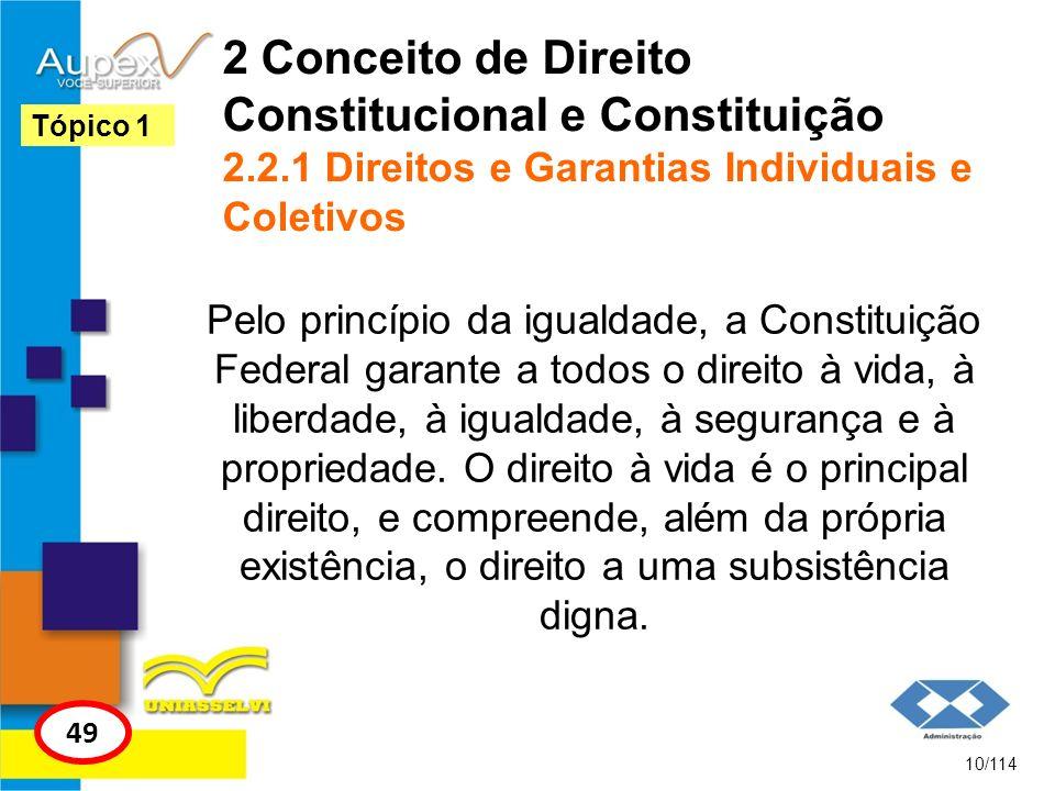 2 Conceito de Direito Constitucional e Constituição 2.2.1 Direitos e Garantias Individuais e Coletivos Pelo princípio da igualdade, a Constituição Fed