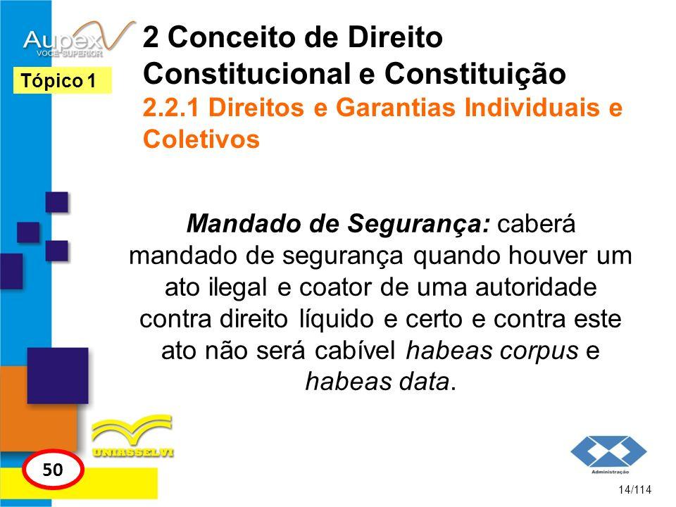2 Conceito de Direito Constitucional e Constituição 2.2.1 Direitos e Garantias Individuais e Coletivos Mandado de Segurança: caberá mandado de seguran