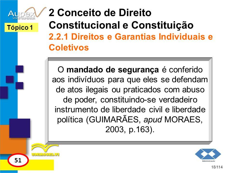 2 Conceito de Direito Constitucional e Constituição 2.2.1 Direitos e Garantias Individuais e Coletivos 18/114 Tópico 1 51 O mandado de segurança é con