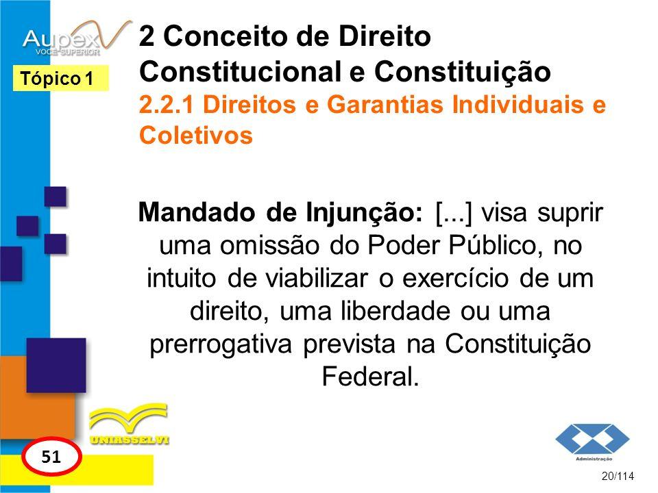 2 Conceito de Direito Constitucional e Constituição 2.2.1 Direitos e Garantias Individuais e Coletivos Mandado de Injunção: [...] visa suprir uma omis