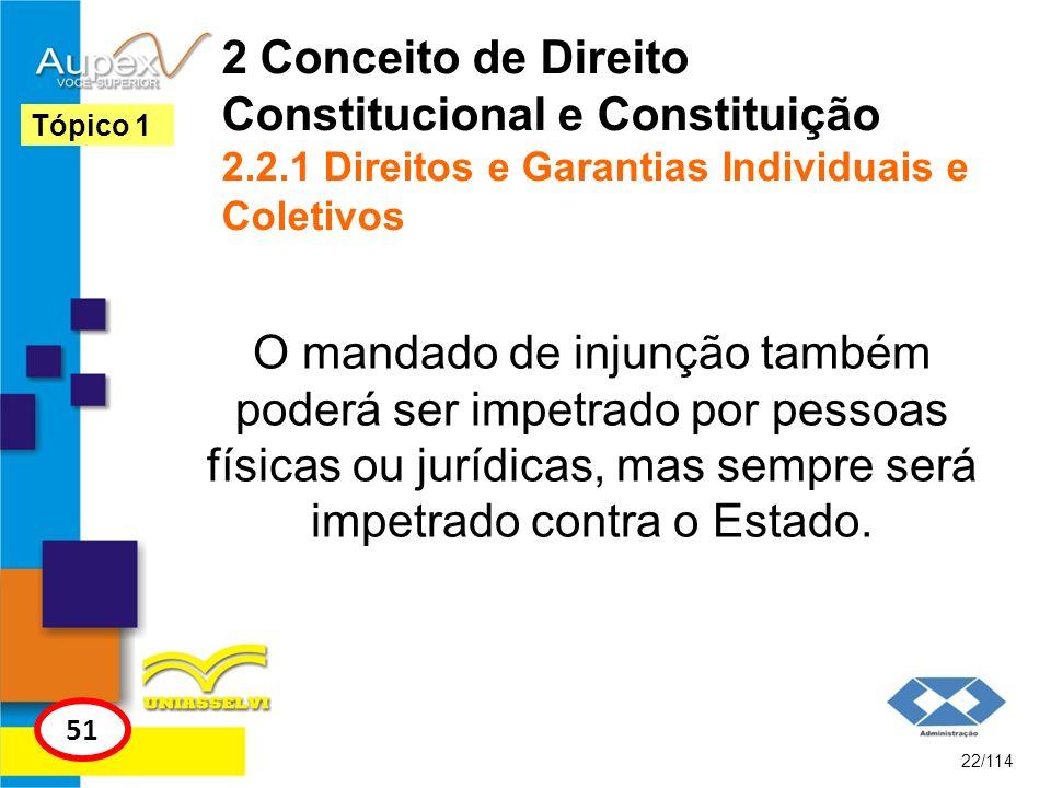2 Conceito de Direito Constitucional e Constituição 2.2.1 Direitos e Garantias Individuais e Coletivos O mandado de injunção também poderá ser impetra