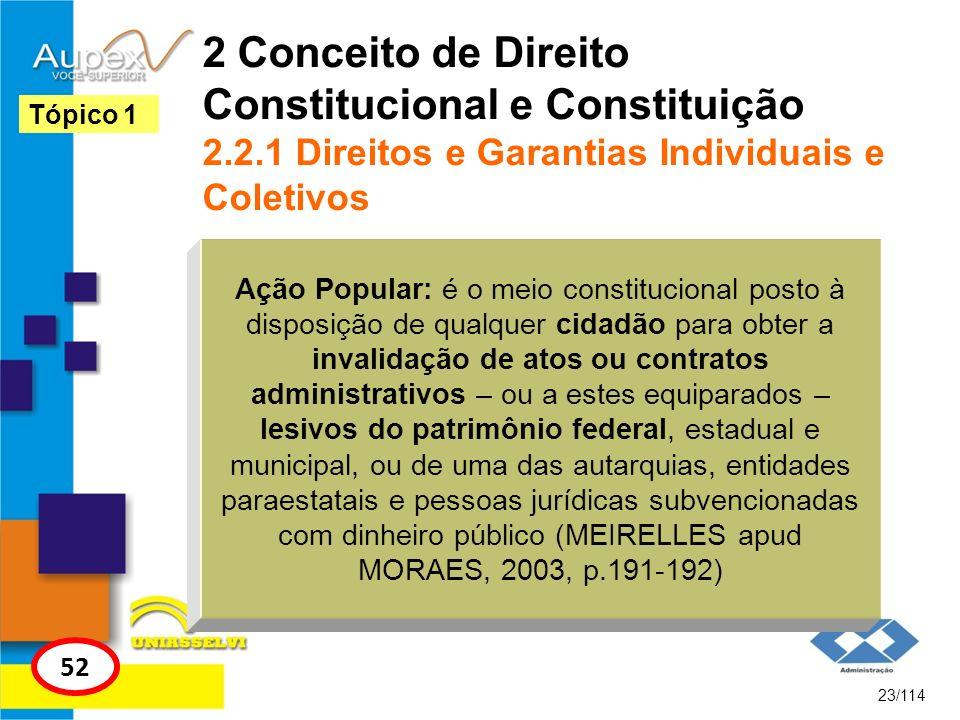 2 Conceito de Direito Constitucional e Constituição 2.2.1 Direitos e Garantias Individuais e Coletivos 23/114 Tópico 1 52 Ação Popular: é o meio const