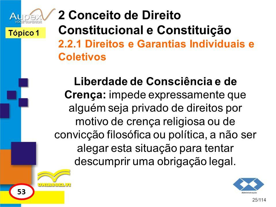 2 Conceito de Direito Constitucional e Constituição 2.2.1 Direitos e Garantias Individuais e Coletivos Liberdade de Consciência e de Crença: impede ex