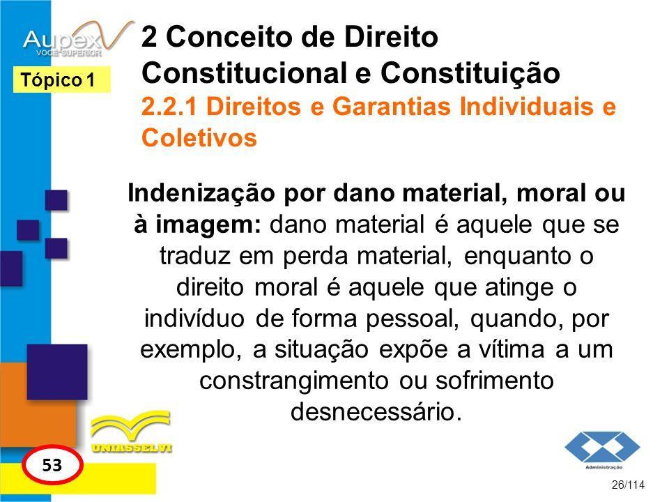 2 Conceito de Direito Constitucional e Constituição 2.2.1 Direitos e Garantias Individuais e Coletivos Indenização por dano material, moral ou à image