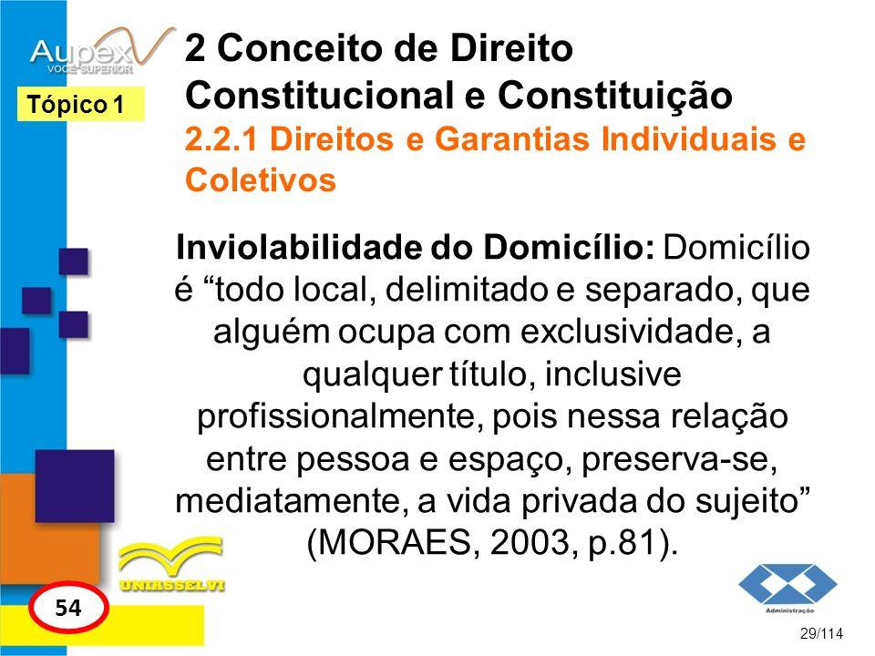 2 Conceito de Direito Constitucional e Constituição 2.2.1 Direitos e Garantias Individuais e Coletivos Inviolabilidade do Domicílio: Domicílio é todo