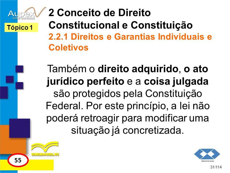 2 Conceito de Direito Constitucional e Constituição 2.2.1 Direitos e Garantias Individuais e Coletivos Também o direito adquirido, o ato jurídico perf