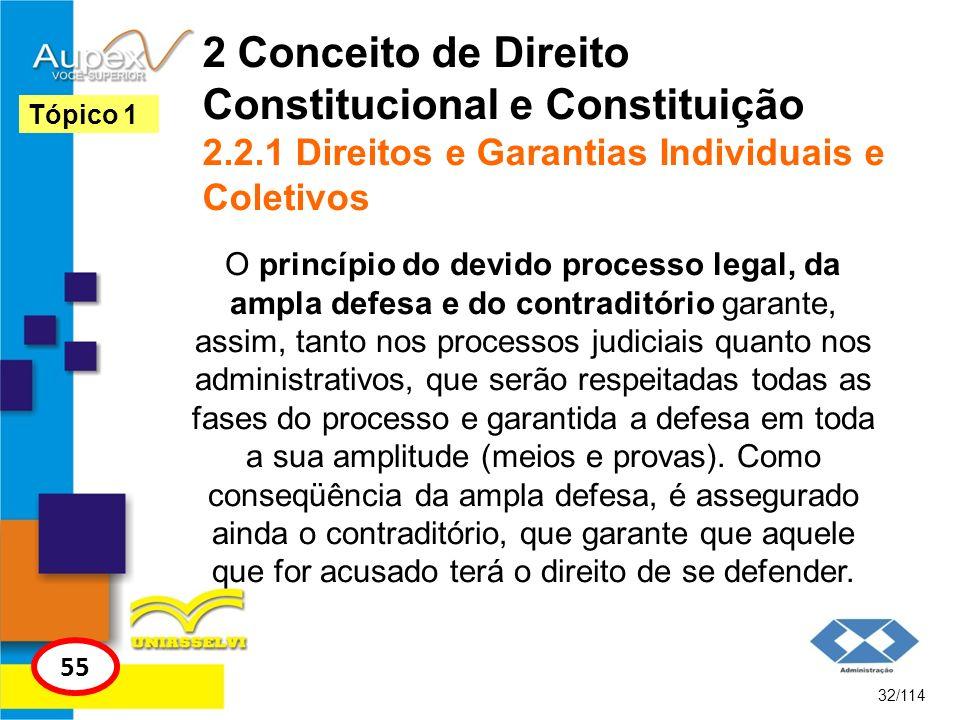 2 Conceito de Direito Constitucional e Constituição 2.2.1 Direitos e Garantias Individuais e Coletivos O princípio do devido processo legal, da ampla