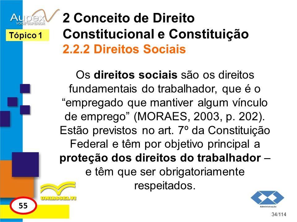 2 Conceito de Direito Constitucional e Constituição 2.2.2 Direitos Sociais Os direitos sociais são os direitos fundamentais do trabalhador, que é o em