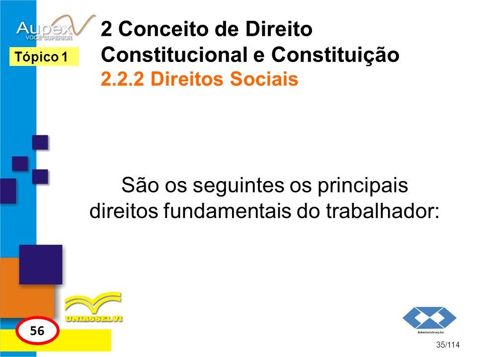 2 Conceito de Direito Constitucional e Constituição 2.2.2 Direitos Sociais São os seguintes os principais direitos fundamentais do trabalhador: 35/114