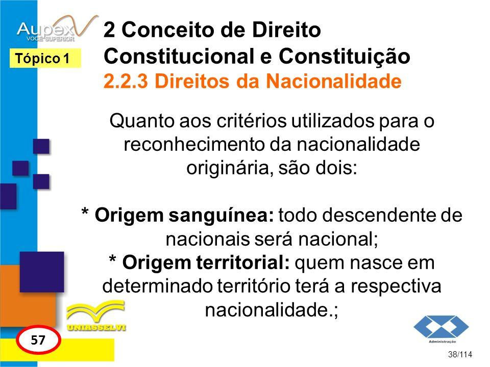 2 Conceito de Direito Constitucional e Constituição 2.2.3 Direitos da Nacionalidade Quanto aos critérios utilizados para o reconhecimento da nacionali