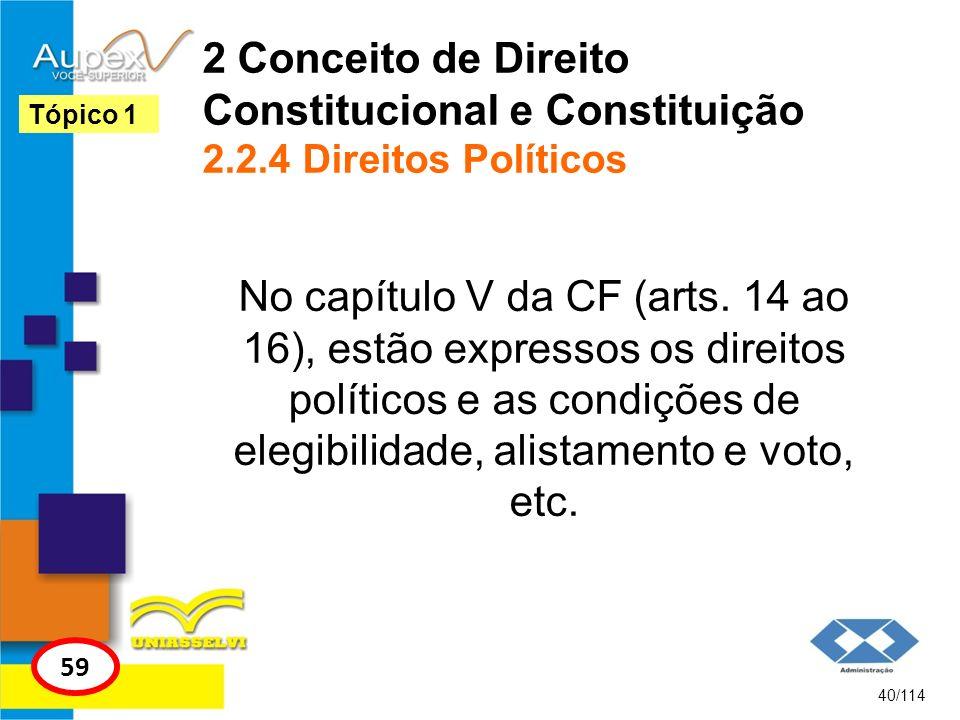 2 Conceito de Direito Constitucional e Constituição 2.2.4 Direitos Políticos No capítulo V da CF (arts. 14 ao 16), estão expressos os direitos polític