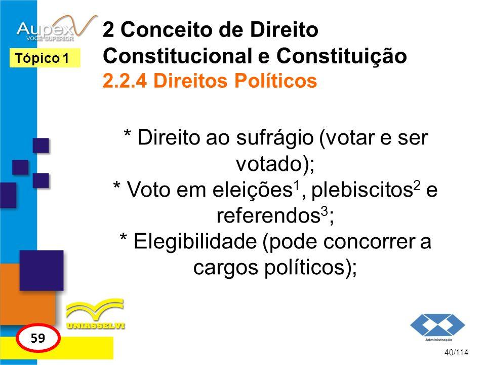2 Conceito de Direito Constitucional e Constituição 2.2.4 Direitos Políticos * Direito ao sufrágio (votar e ser votado); * Voto em eleições 1, plebisc