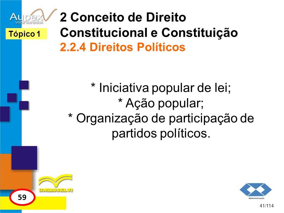 2 Conceito de Direito Constitucional e Constituição 2.2.4 Direitos Políticos * Iniciativa popular de lei; * Ação popular; * Organização de participaçã