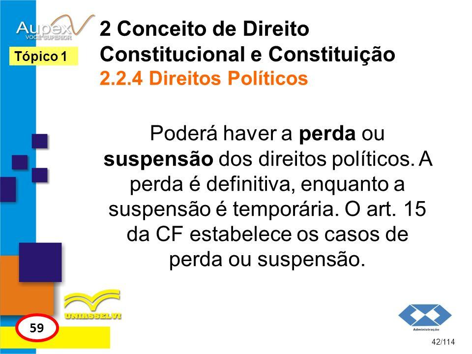 2 Conceito de Direito Constitucional e Constituição 2.2.4 Direitos Políticos Poderá haver a perda ou suspensão dos direitos políticos. A perda é defin
