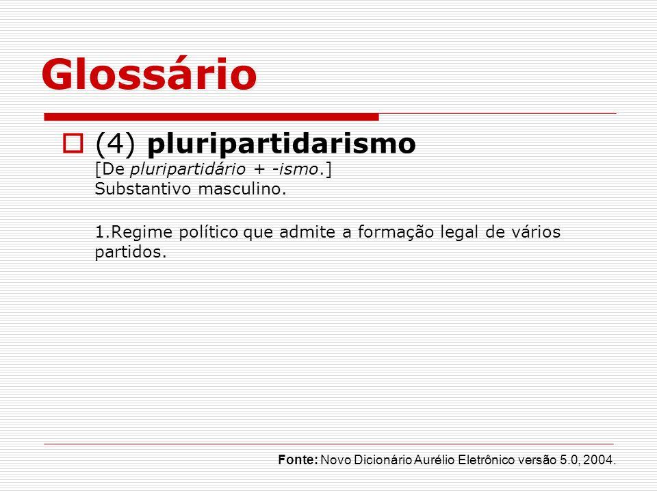 Glossário (4) pluripartidarismo [De pluripartidário + -ismo.] Substantivo masculino. 1.Regime político que admite a formação legal de vários partidos.