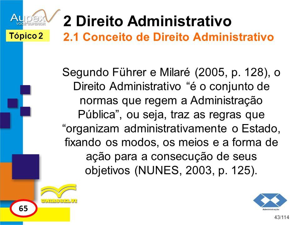 2 Direito Administrativo 2.1 Conceito de Direito Administrativo Segundo Führer e Milaré (2005, p. 128), o Direito Administrativo é o conjunto de norma