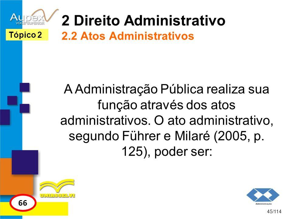 2 Direito Administrativo 2.2 Atos Administrativos A Administração Pública realiza sua função através dos atos administrativos. O ato administrativo, s