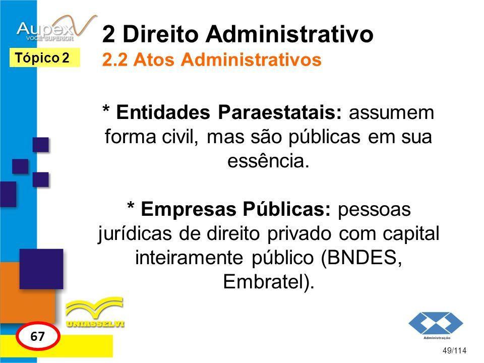 2 Direito Administrativo 2.2 Atos Administrativos * Entidades Paraestatais: assumem forma civil, mas são públicas em sua essência. * Empresas Públicas