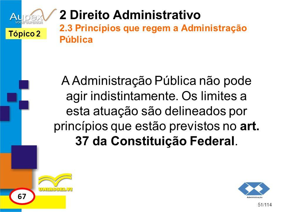 2 Direito Administrativo 2.3 Princípios que regem a Administração Pública A Administração Pública não pode agir indistintamente. Os limites a esta atu