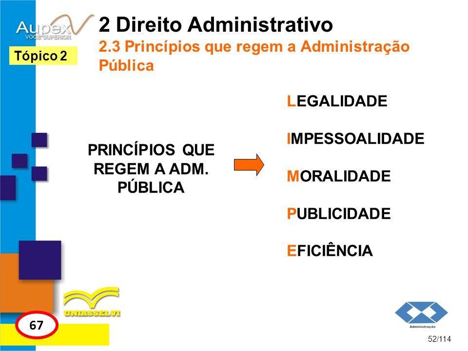 2 Direito Administrativo 2.3 Princípios que regem a Administração Pública PRINCÍPIOS QUE REGEM A ADM. PÚBLICA 52/114 Tópico 2 67 LEGALIDADE IMPESSOALI