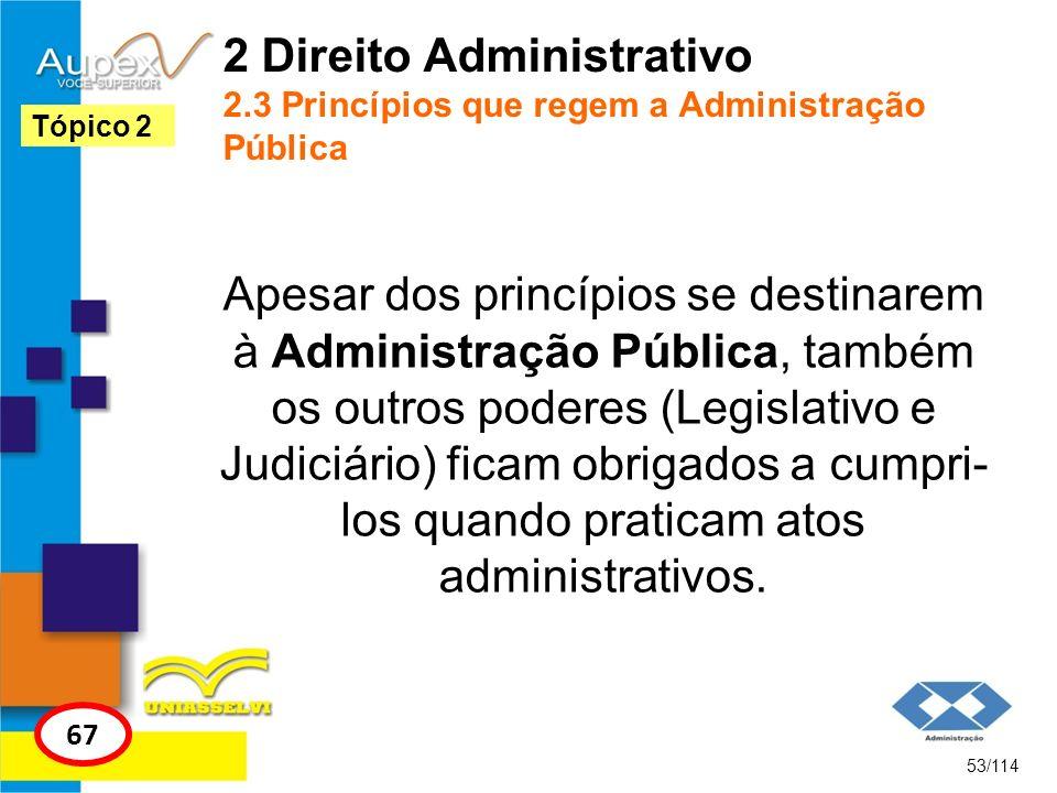 2 Direito Administrativo 2.3 Princípios que regem a Administração Pública Apesar dos princípios se destinarem à Administração Pública, também os outro