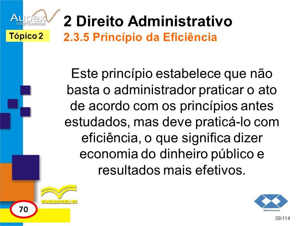 2 Direito Administrativo 2.3.5 Princípio da Eficiência Este princípio estabelece que não basta o administrador praticar o ato de acordo com os princíp