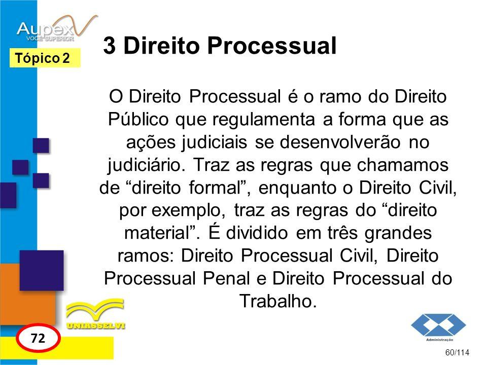 3 Direito Processual O Direito Processual é o ramo do Direito Público que regulamenta a forma que as ações judiciais se desenvolverão no judiciário. T
