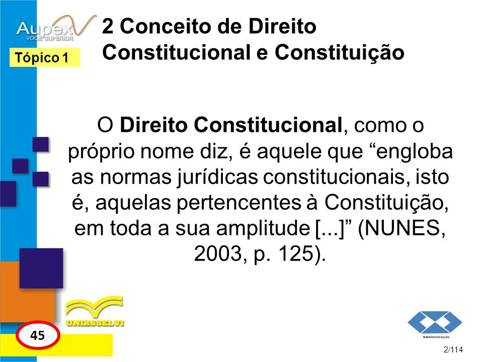 2 Conceito de Direito Constitucional e Constituição O Direito Constitucional, como o próprio nome diz, é aquele que engloba as normas jurídicas consti