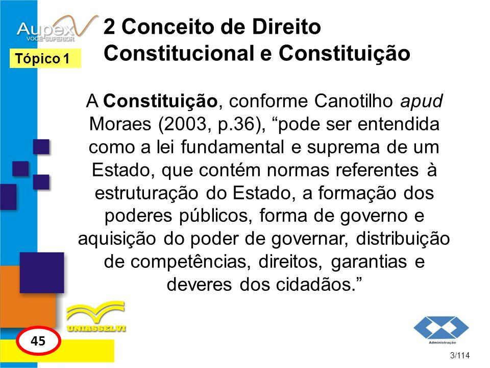 2 Conceito de Direito Constitucional e Constituição A Constituição, conforme Canotilho apud Moraes (2003, p.36), pode ser entendida como a lei fundame