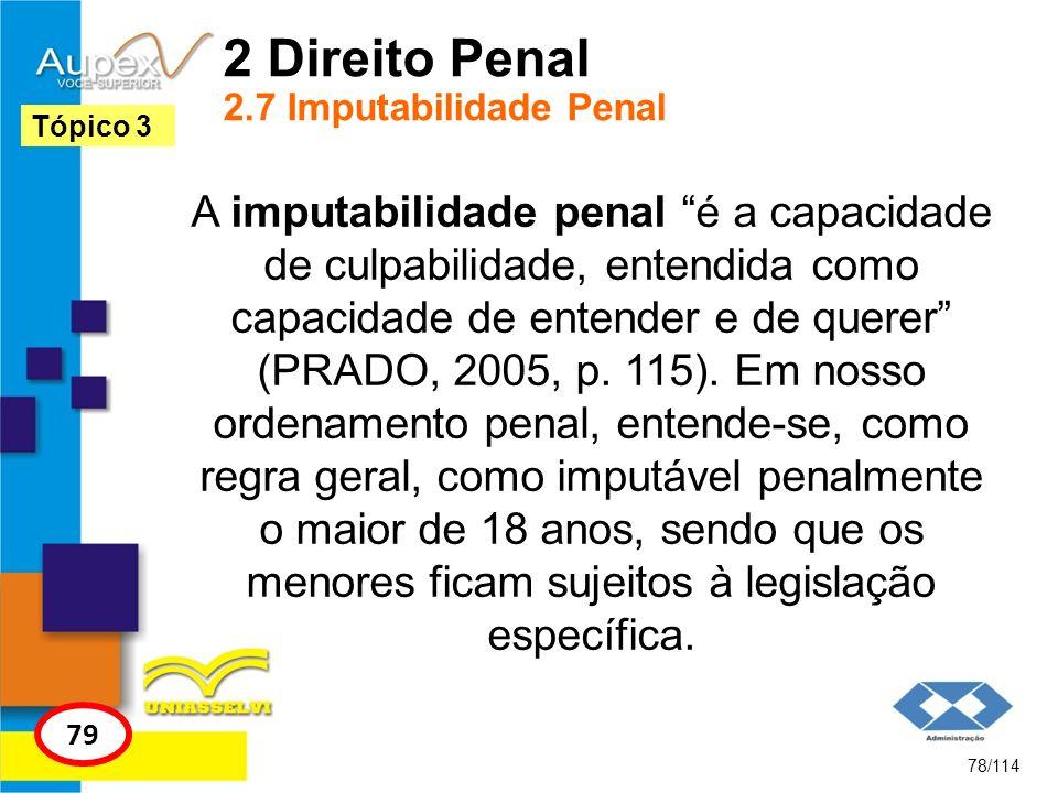 2 Direito Penal 2.7 Imputabilidade Penal A imputabilidade penal é a capacidade de culpabilidade, entendida como capacidade de entender e de querer (PR