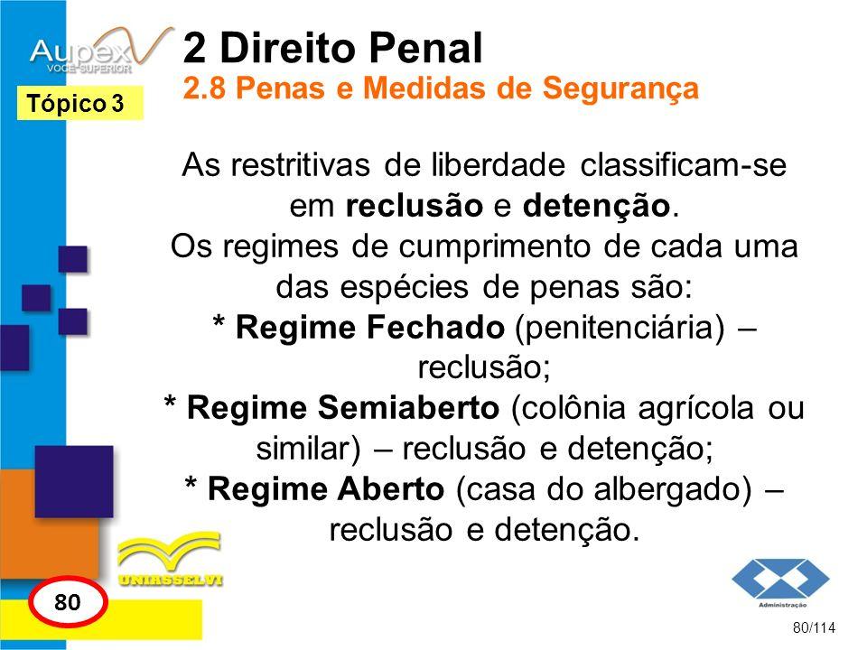 2 Direito Penal 2.8 Penas e Medidas de Segurança As restritivas de liberdade classificam-se em reclusão e detenção. Os regimes de cumprimento de cada