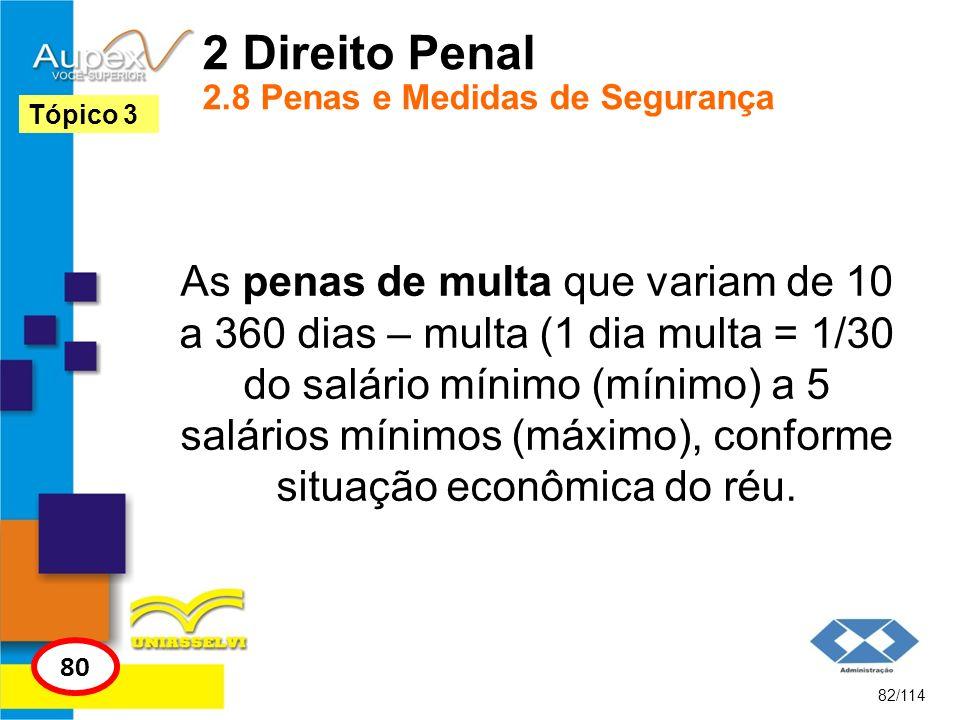2 Direito Penal 2.8 Penas e Medidas de Segurança As penas de multa que variam de 10 a 360 dias – multa (1 dia multa = 1/30 do salário mínimo (mínimo)