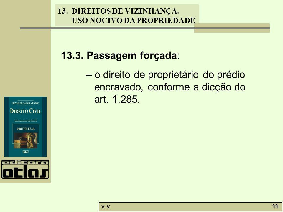 13. DIREITOS DE VIZINHANÇA. USO NOCIVO DA PROPRIEDADE V. V 11 13.3. Passagem forçada: – o direito de proprietário do prédio encravado, conforme a dicç