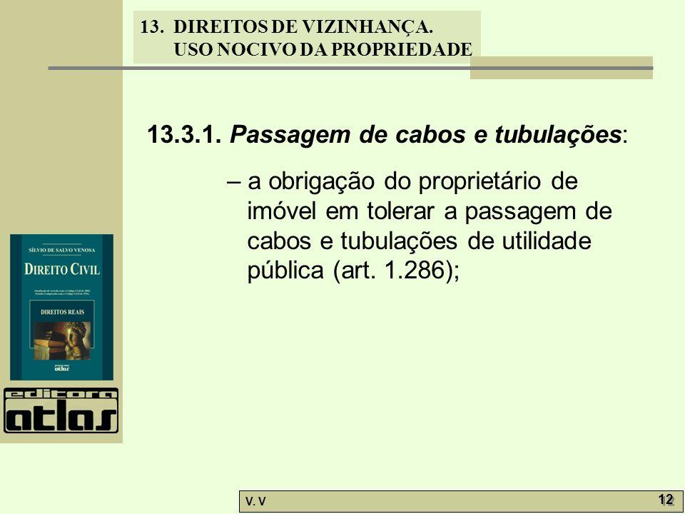 13. DIREITOS DE VIZINHANÇA. USO NOCIVO DA PROPRIEDADE V. V 12 13.3.1. Passagem de cabos e tubulações: – a obrigação do proprietário de imóvel em toler