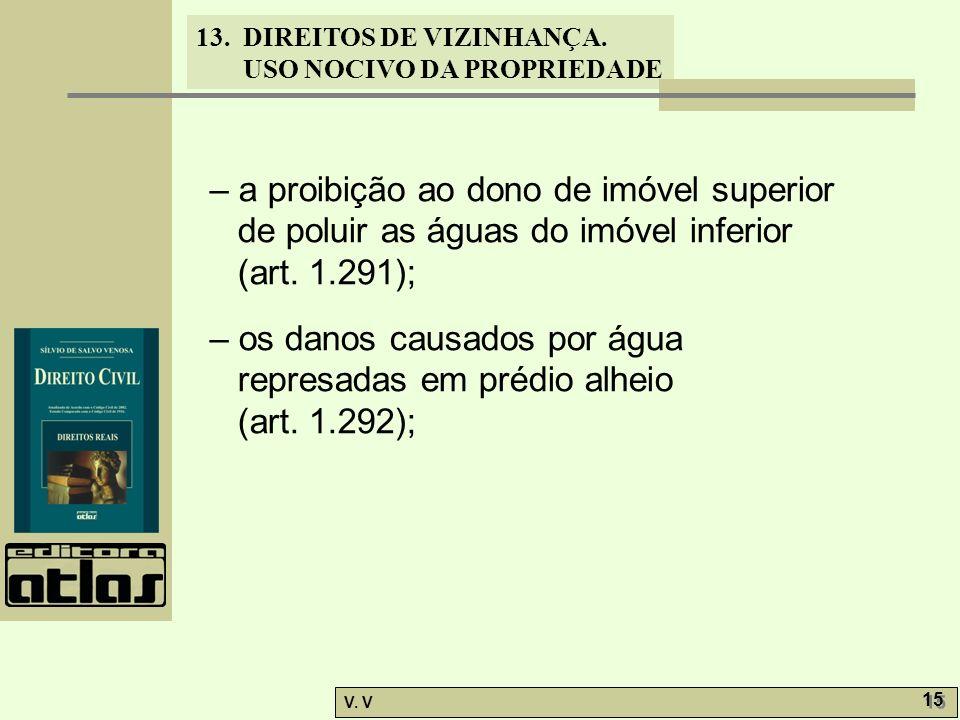 13. DIREITOS DE VIZINHANÇA. USO NOCIVO DA PROPRIEDADE V. V 15 – a proibição ao dono de imóvel superior de poluir as águas do imóvel inferior (art. 1.2