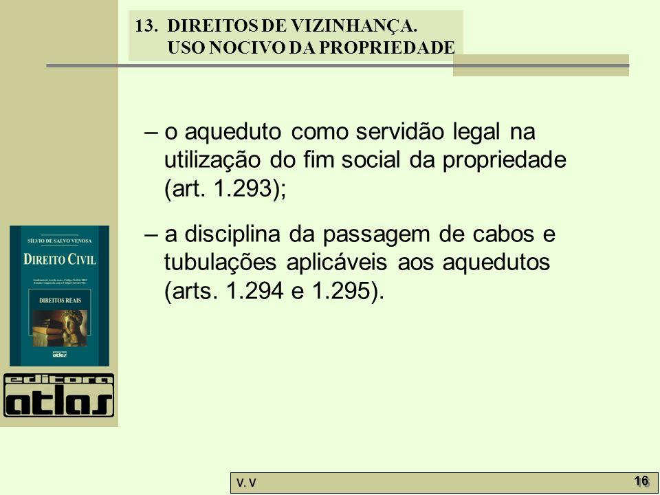 13. DIREITOS DE VIZINHANÇA. USO NOCIVO DA PROPRIEDADE V. V 16 – o aqueduto como servidão legal na utilização do fim social da propriedade (art. 1.293)