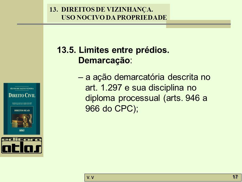 13. DIREITOS DE VIZINHANÇA. USO NOCIVO DA PROPRIEDADE V. V 17 13.5. Limites entre prédios. Demarcação: – a ação demarcatória descrita no art. 1.297 e