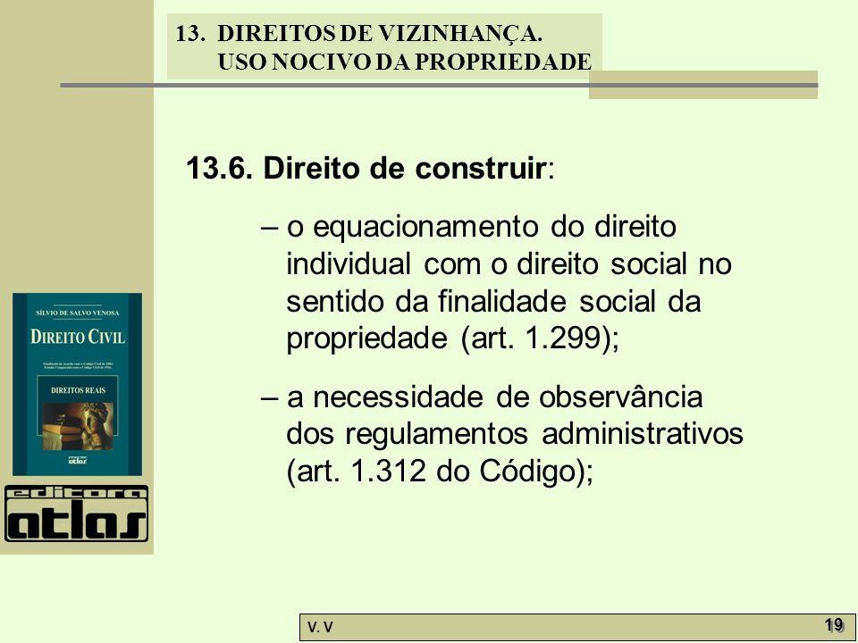 13. DIREITOS DE VIZINHANÇA. USO NOCIVO DA PROPRIEDADE V. V 19 13.6. Direito de construir: – o equacionamento do direito individual com o direito socia