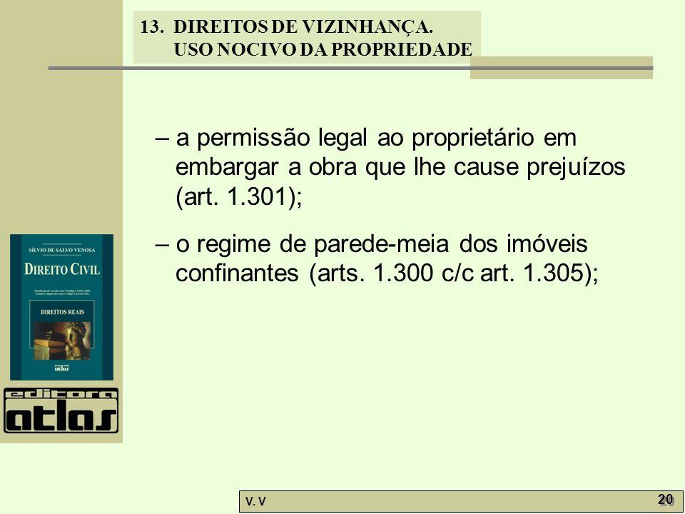 13. DIREITOS DE VIZINHANÇA. USO NOCIVO DA PROPRIEDADE V. V 20 – a permissão legal ao proprietário em embargar a obra que lhe cause prejuízos (art. 1.3