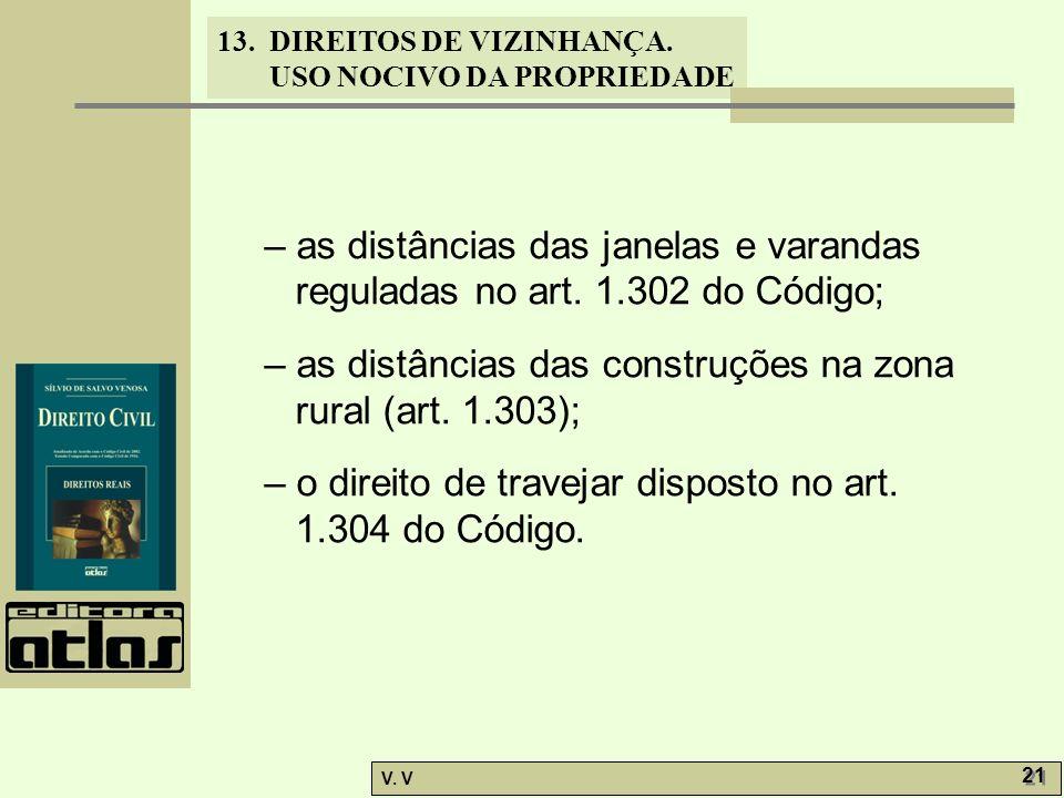 13. DIREITOS DE VIZINHANÇA. USO NOCIVO DA PROPRIEDADE V. V 21 – as distâncias das janelas e varandas reguladas no art. 1.302 do Código; – as distância