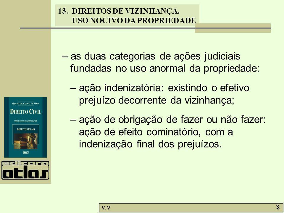 13. DIREITOS DE VIZINHANÇA. USO NOCIVO DA PROPRIEDADE V. V 3 3 – as duas categorias de ações judiciais fundadas no uso anormal da propriedade: – ação