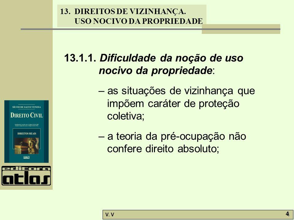 13. DIREITOS DE VIZINHANÇA. USO NOCIVO DA PROPRIEDADE V. V 4 4 13.1.1. Dificuldade da noção de uso nocivo da propriedade: – as situações de vizinhança