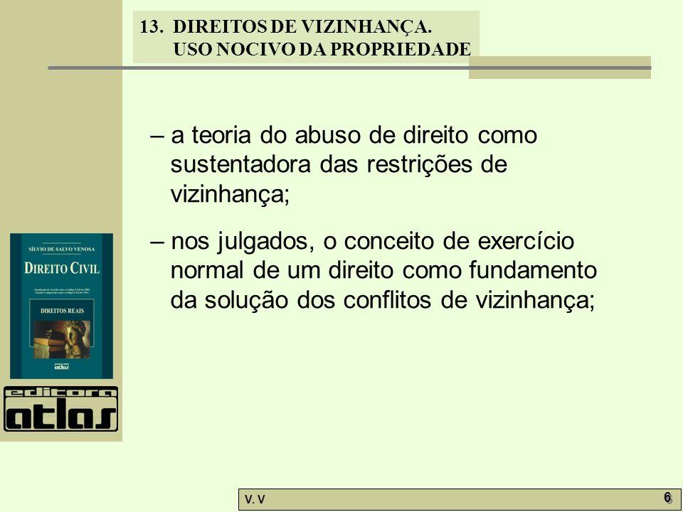 13. DIREITOS DE VIZINHANÇA. USO NOCIVO DA PROPRIEDADE V. V 6 6 – a teoria do abuso de direito como sustentadora das restrições de vizinhança; – nos ju