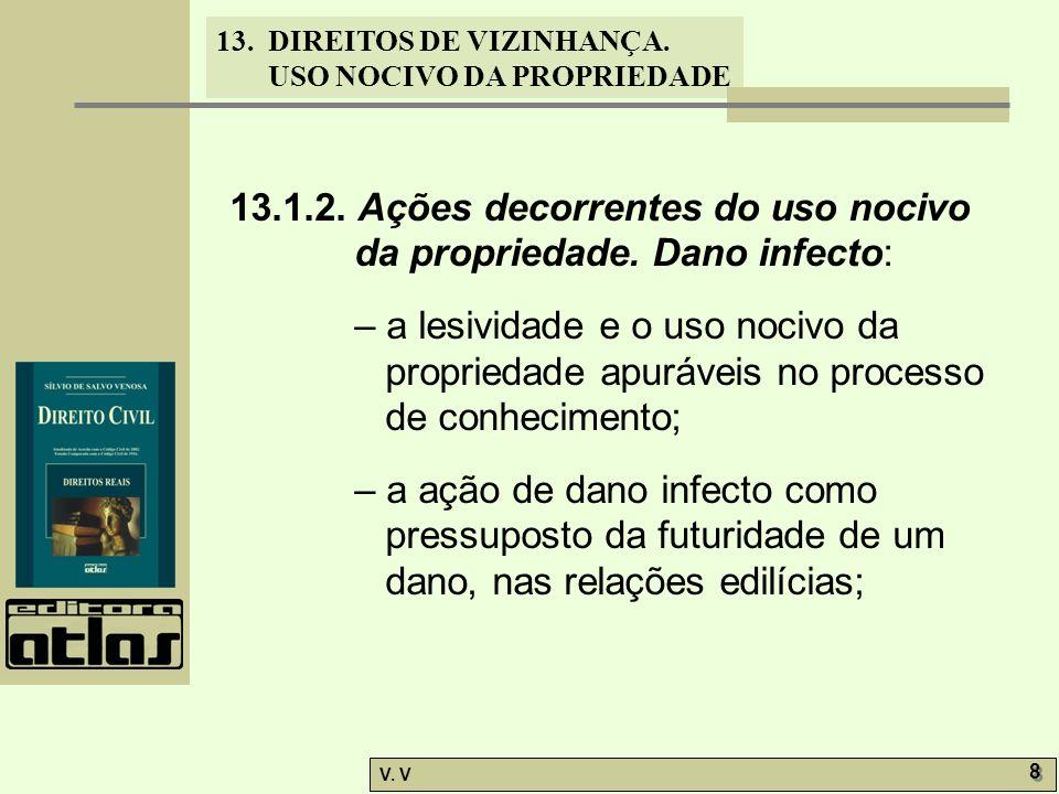 13. DIREITOS DE VIZINHANÇA. USO NOCIVO DA PROPRIEDADE V. V 8 8 13.1.2. Ações decorrentes do uso nocivo da propriedade. Dano infecto: – a lesividade e