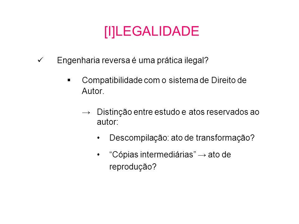 Engenharia reversa é uma prática ilegal.Compatibilidade com o sistema de Direito de Autor.