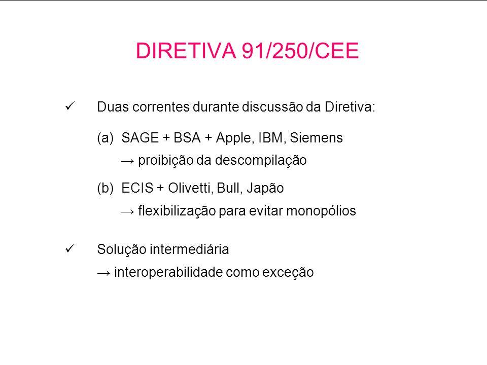 Duas correntes durante discussão da Diretiva: (a) SAGE + BSA + Apple, IBM, Siemens proibição da descompilação (b) ECIS + Olivetti, Bull, Japão flexibilização para evitar monopólios Solução intermediária interoperabilidade como exceção DIRETIVA 91/250/CEE