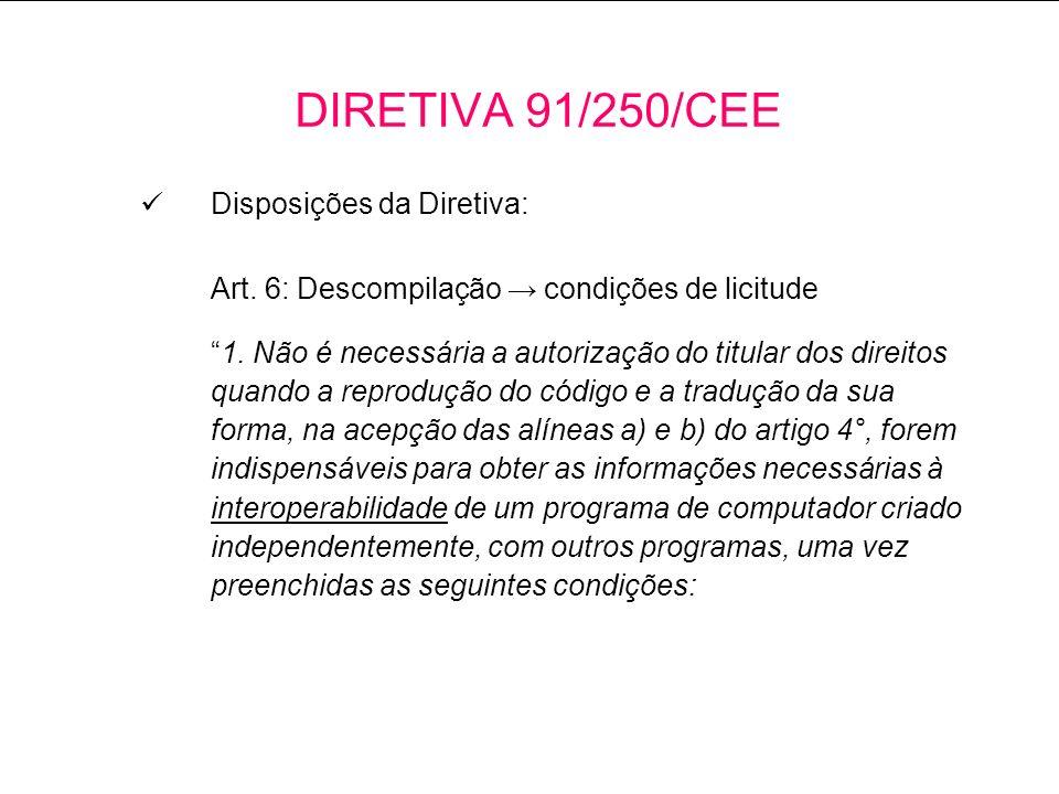 Disposições da Diretiva: Art.6: Descompilação condições de licitude 1.